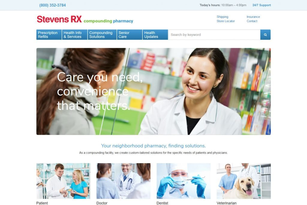 Costa Mesa Stevens Pharmacy custom responsive website design
