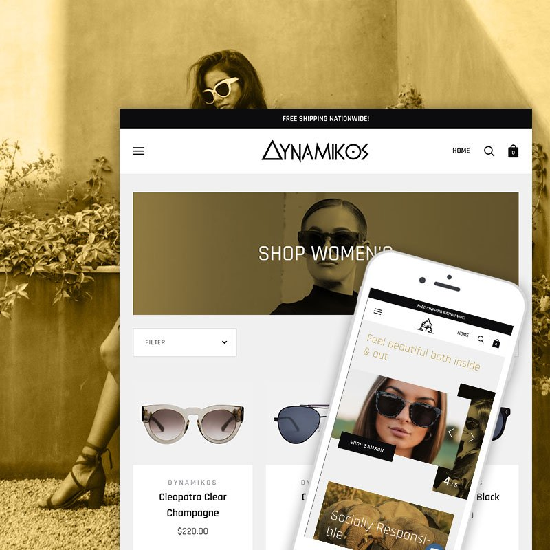 Sunglass and fashion Shopify website design and development