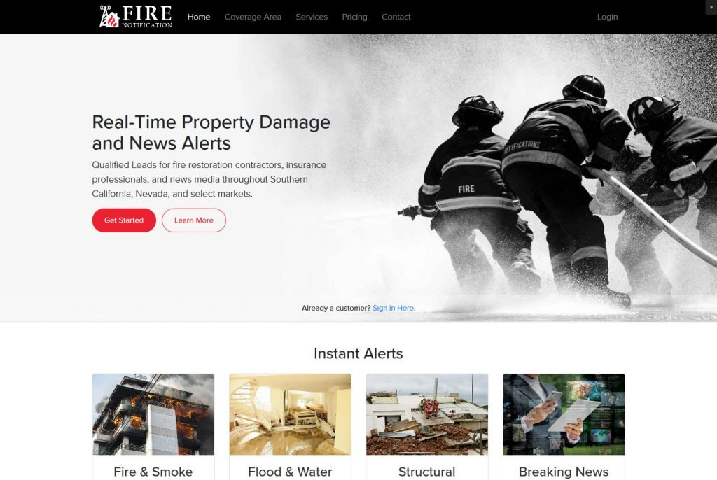 Fire Notification irvine business web design