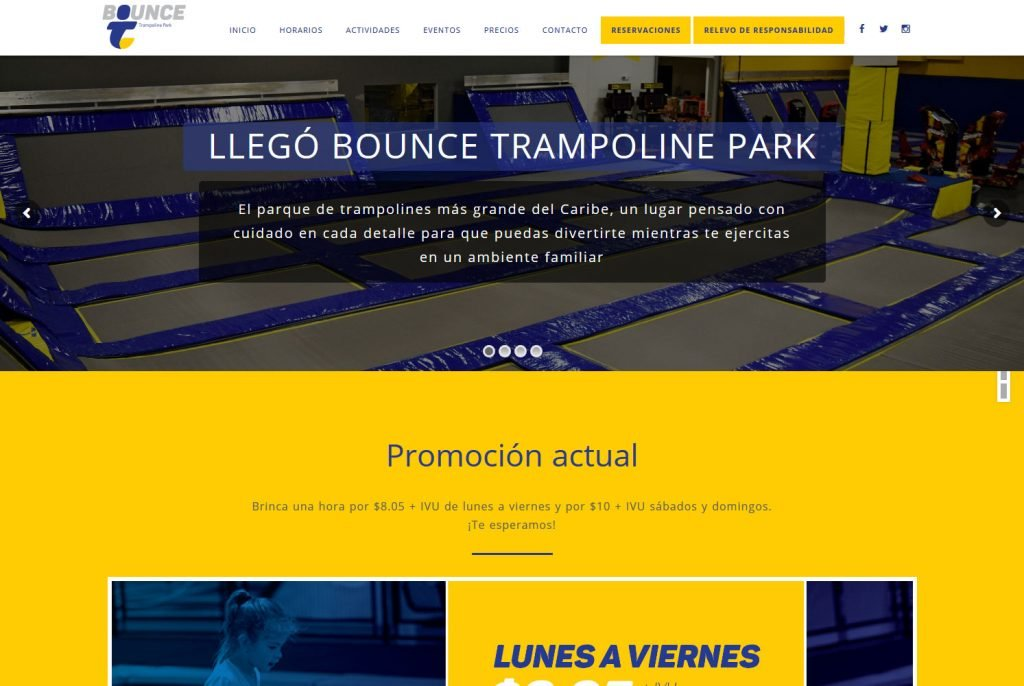 Trampoline Park spanish web design WordPress