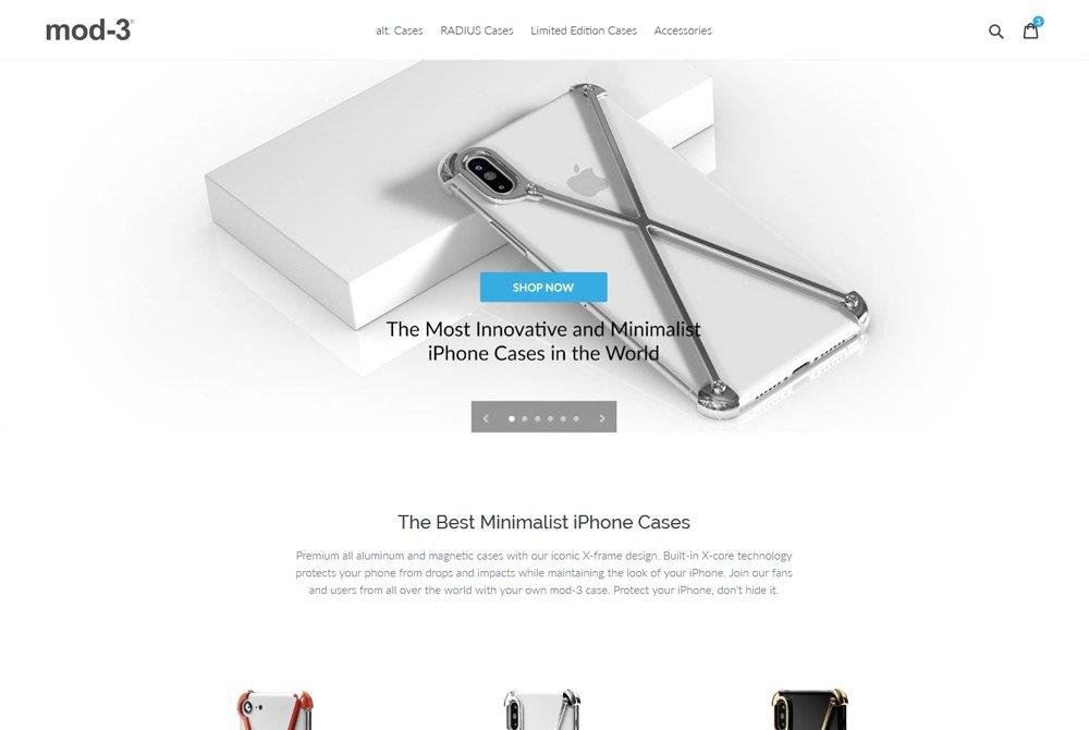 Shopify web design high-tech iphone cases