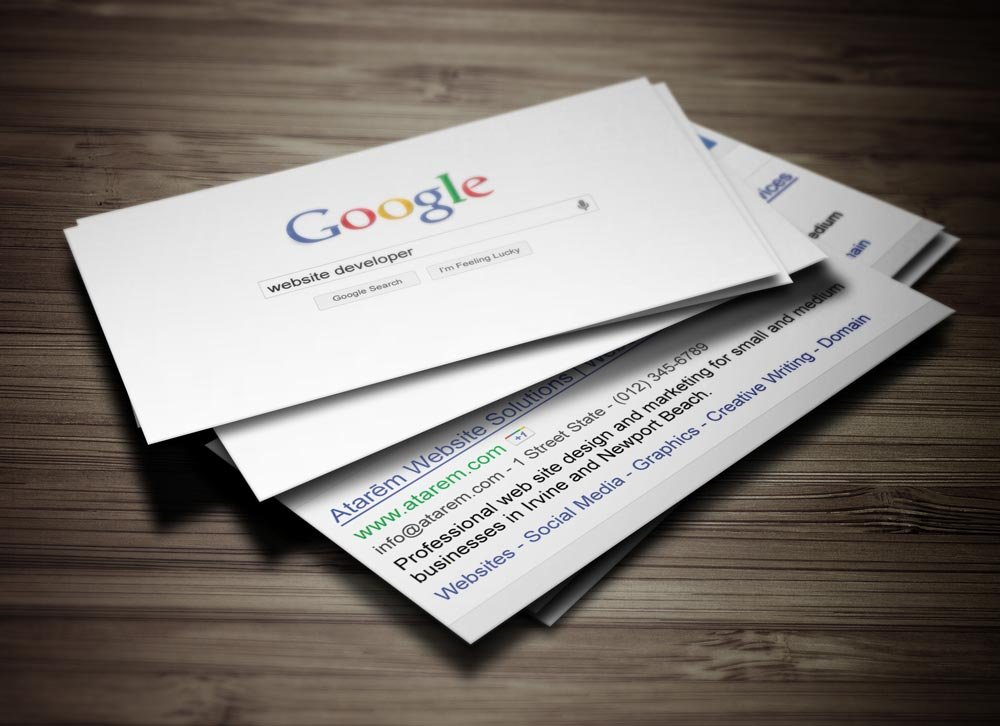 Google Business Card Design Ready To Print - Google business card template
